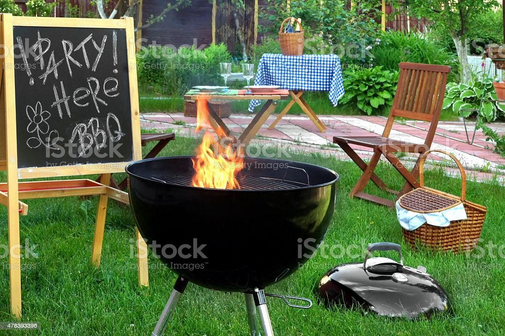 Summer Backyard BBQ Grill Party Scene stock photo
