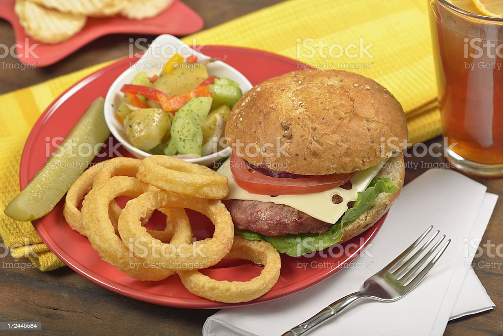 Summer BBQ - Burger and Onion Rings, fast food royalty-free stock photo