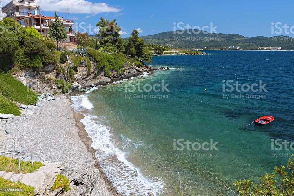 Summer beach at Halkidiki in Greece stock photo