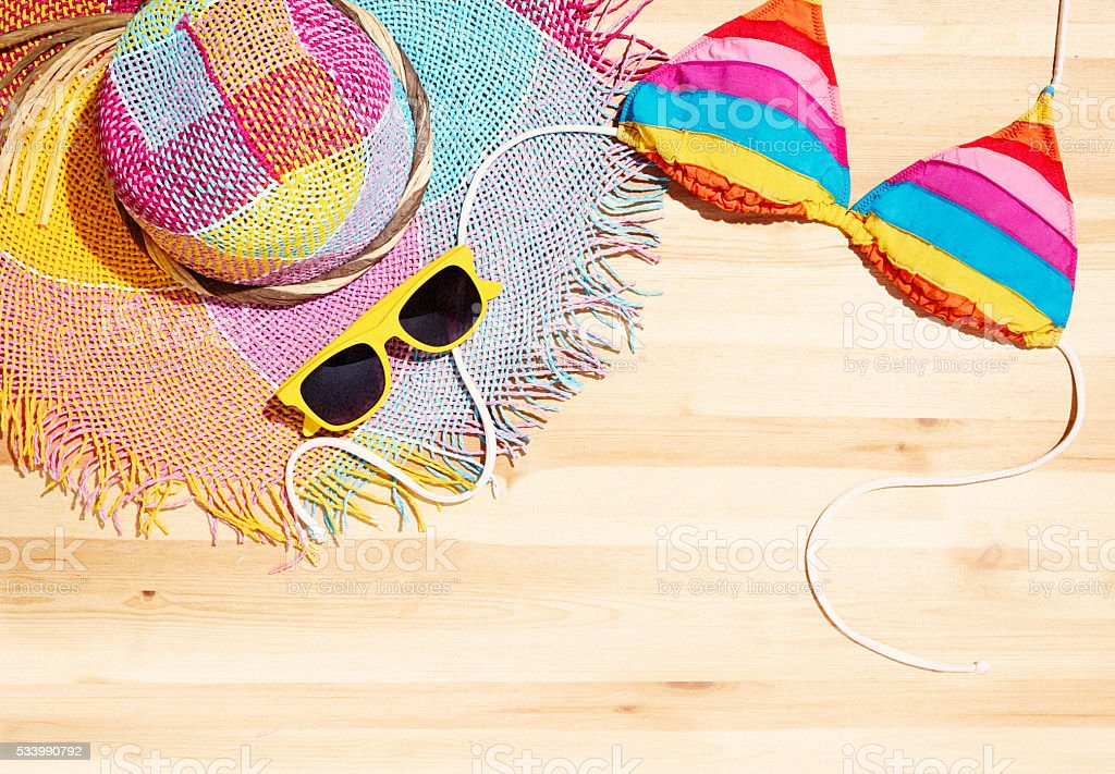Summer beach fashion item.Accessories on the wooden table stock photo