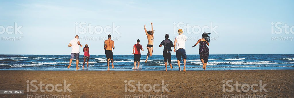 Summer Beach Friendship Holiday Vacation Concept stock photo