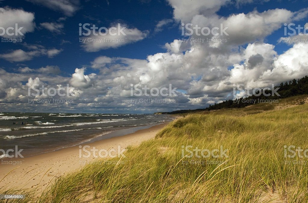 Summer Beach on Great Lake in Michigan with Dune Grass stock photo