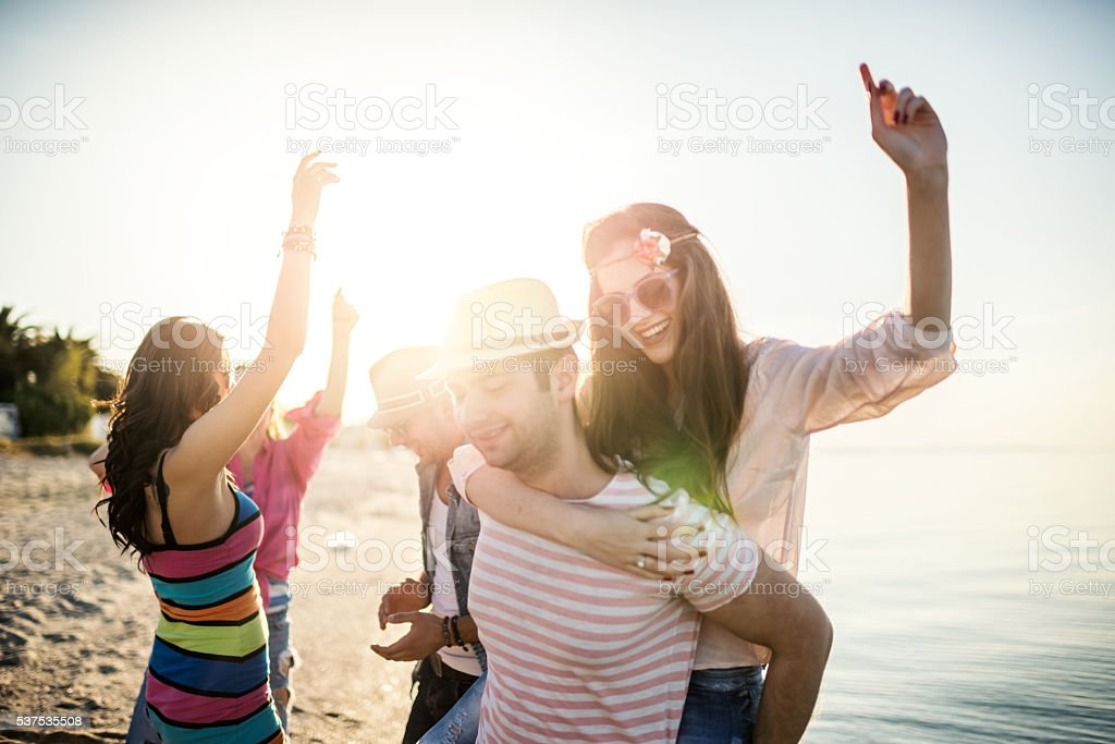 Summer beach party stock photo