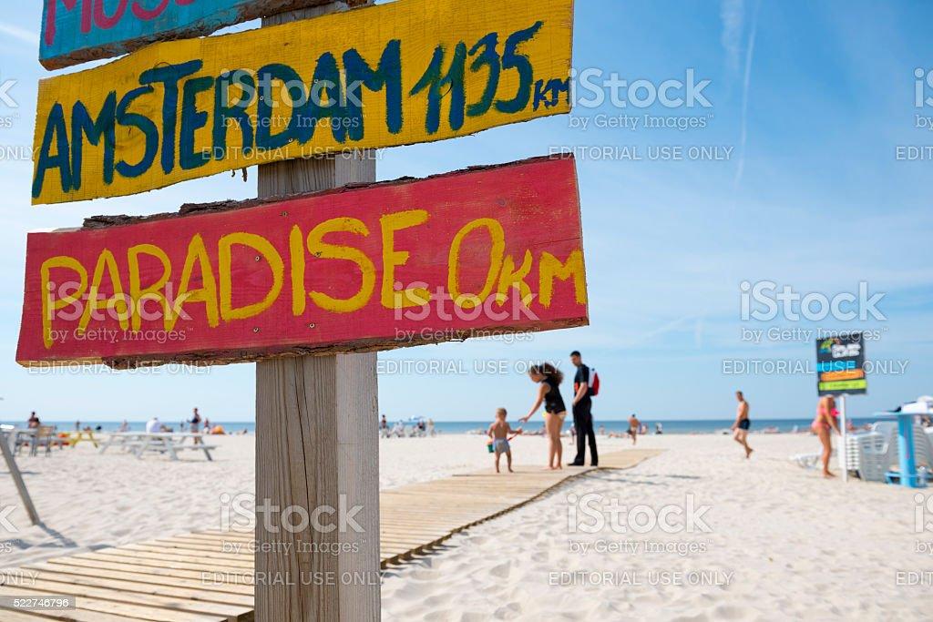 Summer beach scene in Liepaja, Latvia stock photo