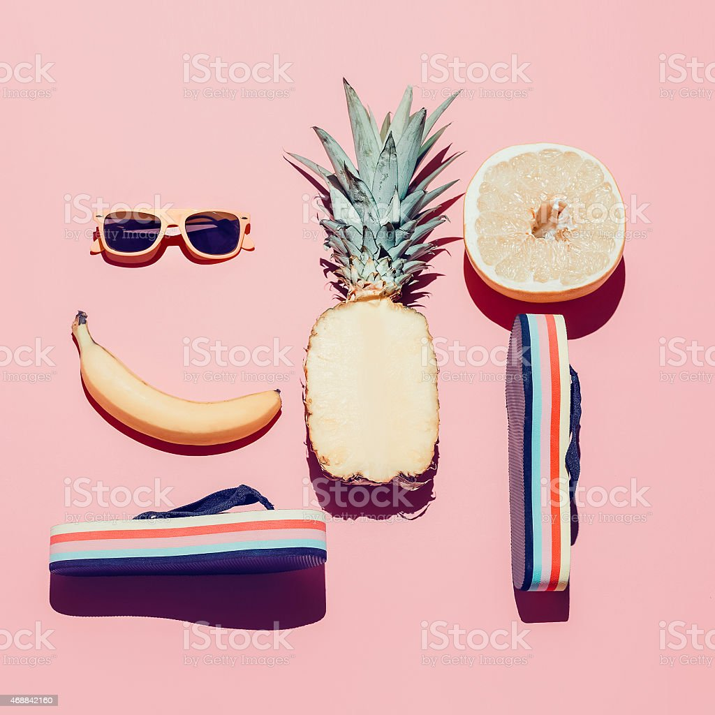 Summer beach set. Fashion accessories and fruits. Vanilla style. stock photo