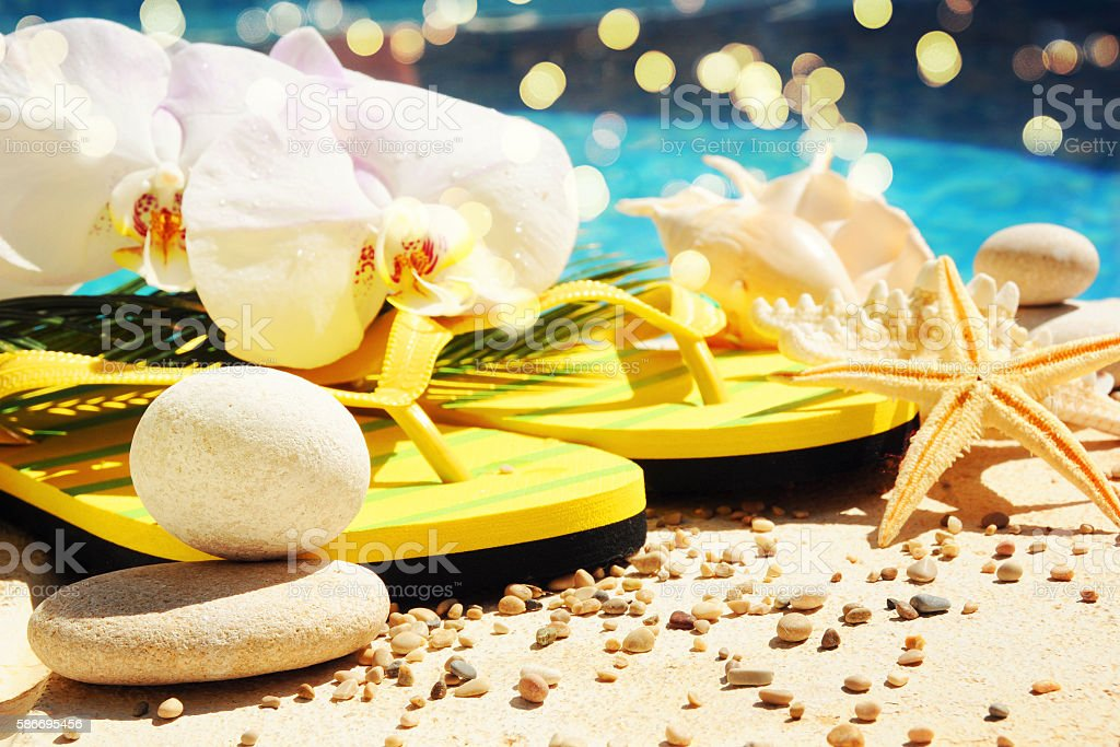 Summer beach with orchid stock photo