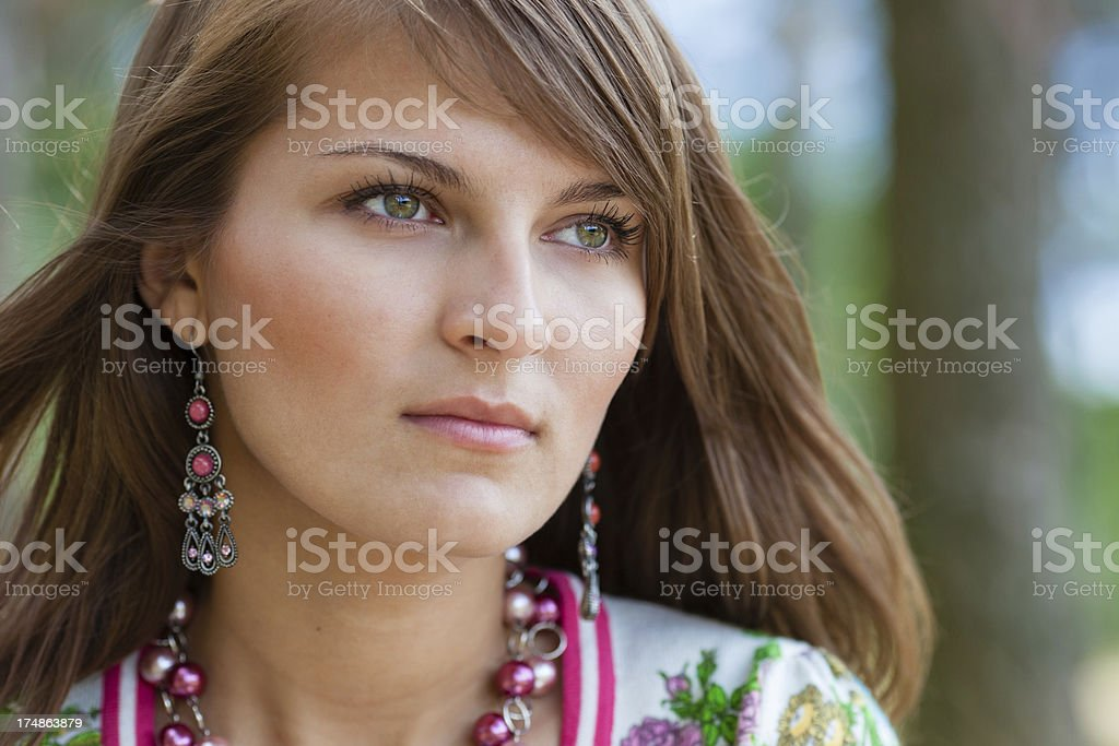 Summer beautiful portrait in soft sunlight royalty-free stock photo
