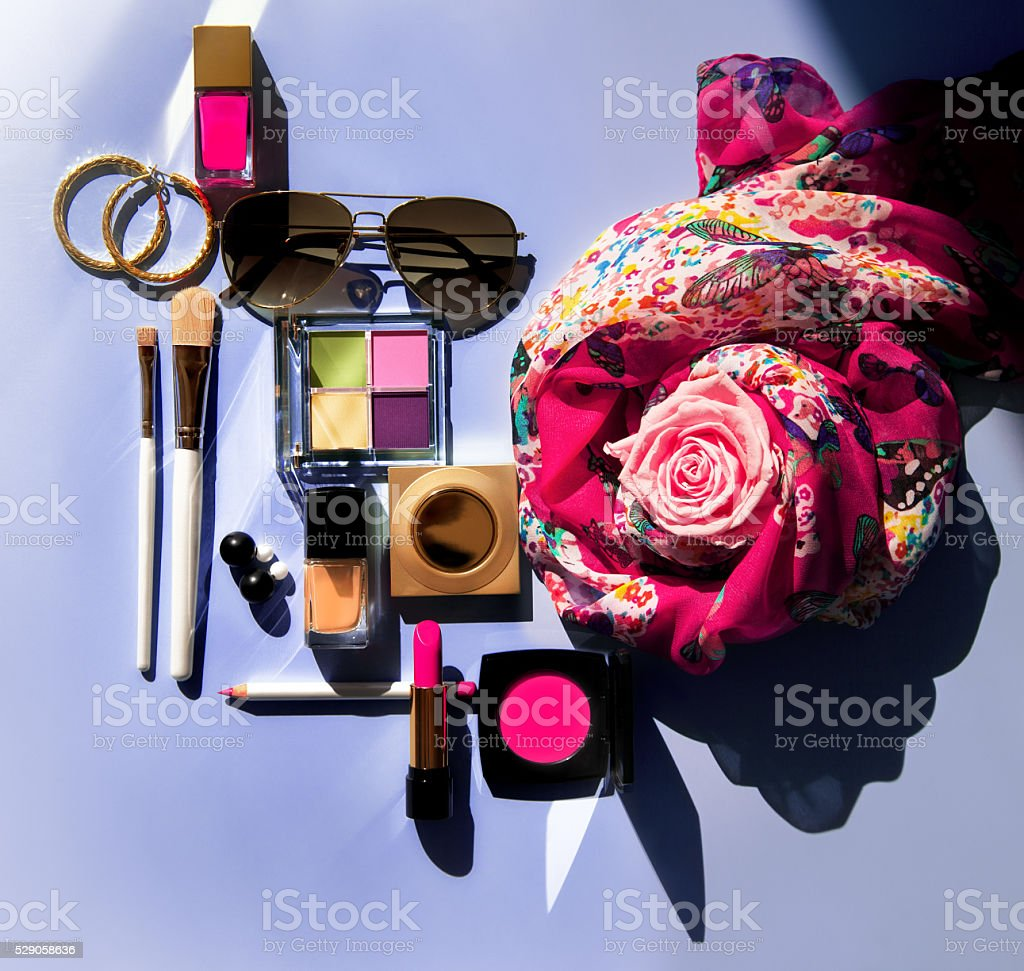 Summer Beauty Flat Lay stock photo