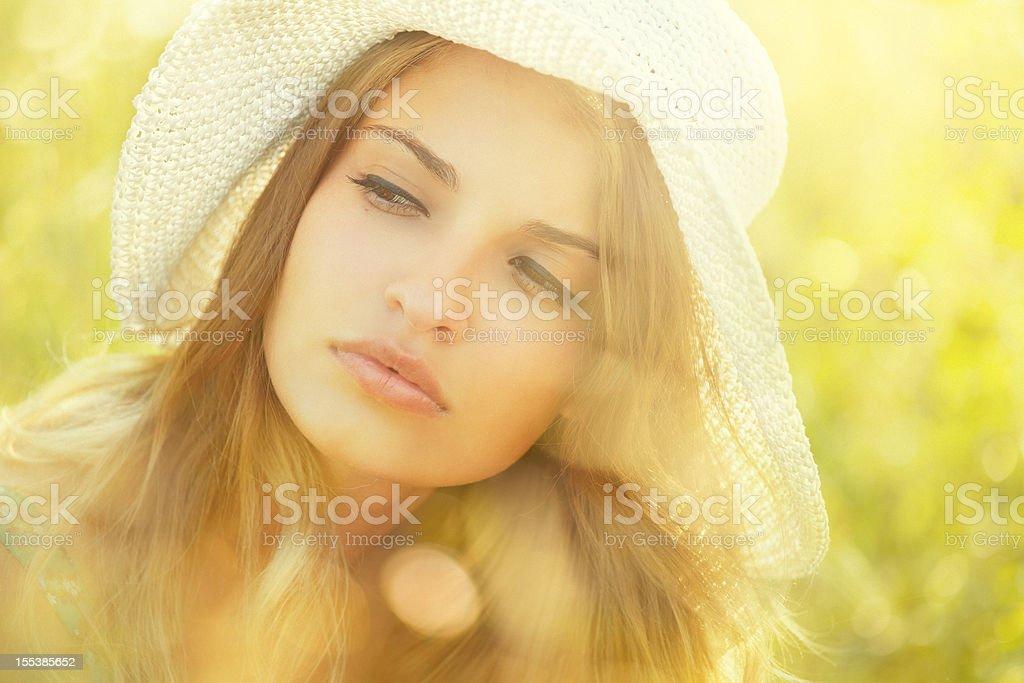 summer beauty wearing sun hat royalty-free stock photo