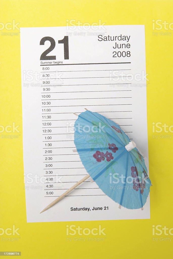 Summer Begins June 21 Calendar Page royalty-free stock photo