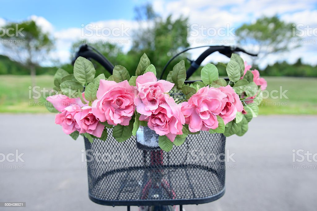Summer bike with flowers. royalty-free stock photo