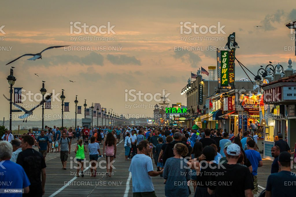 Summer Boardwalk at Dusk stock photo