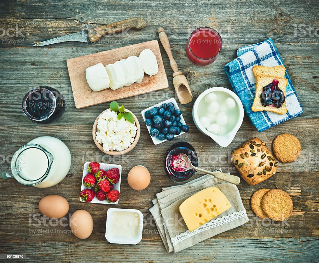 Summer breakfast on a wooden table stock photo