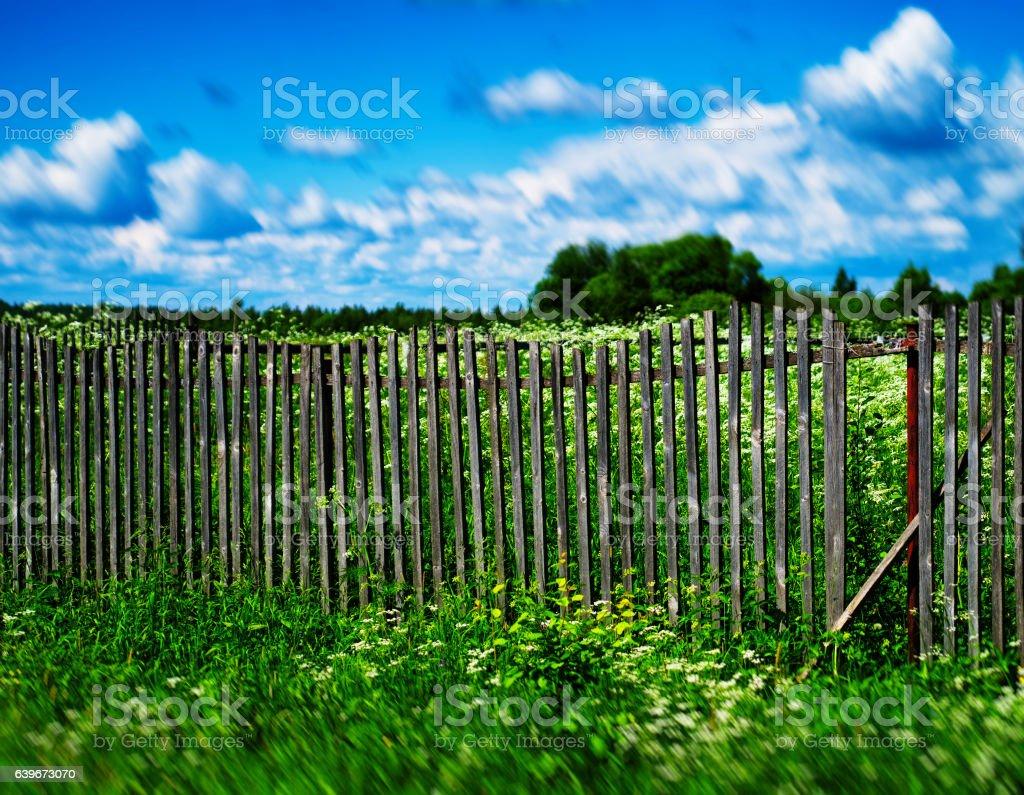 Summer broken fence stock photo