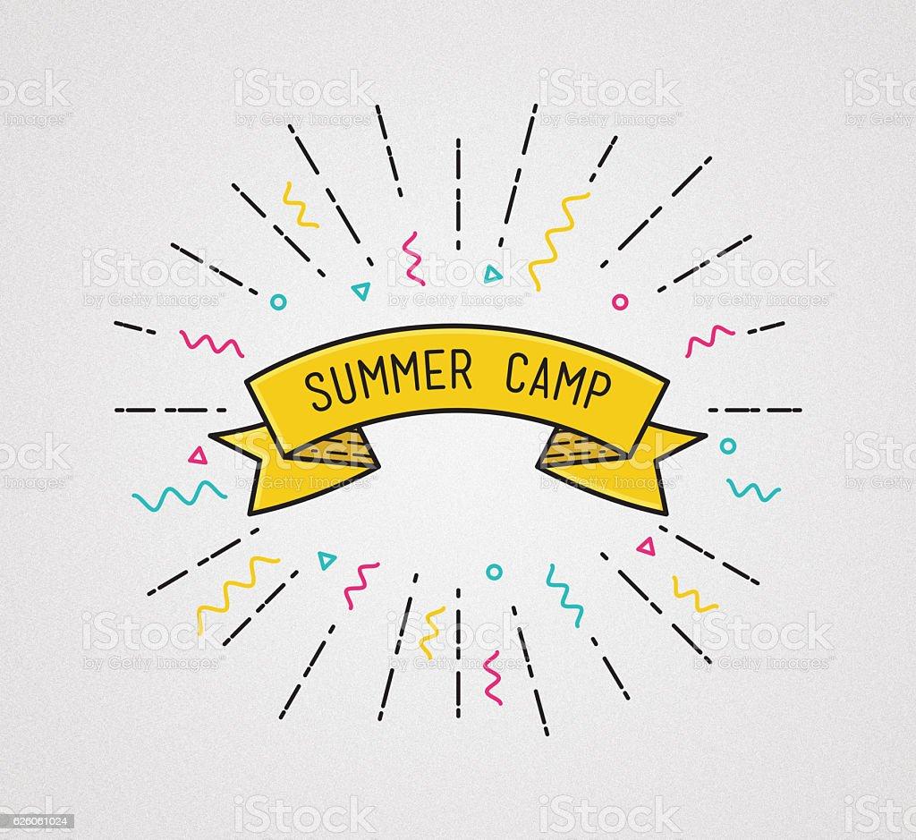 Summer camp poster in flat design. Inspirational  illustration stock photo