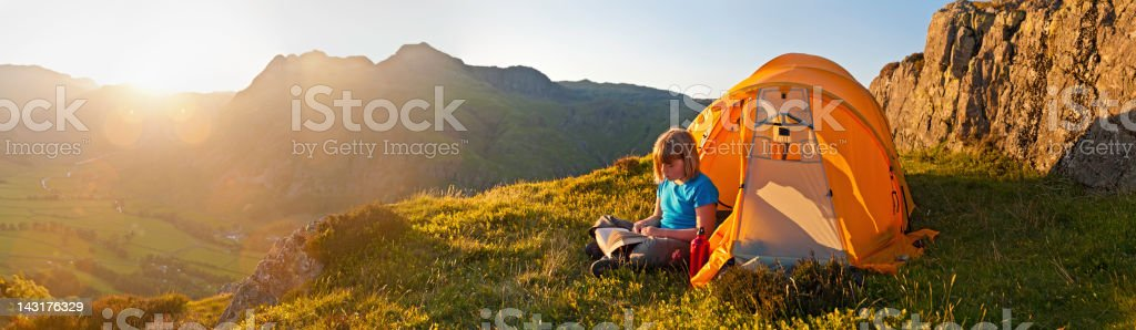 Summer camping in idyllic mountain landscape royalty-free stock photo
