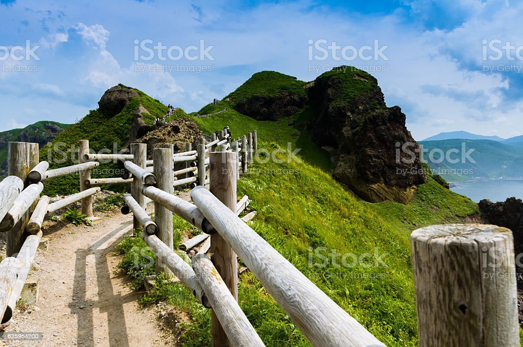 summer, cape path of Hokkaido, North blue sea stock photo