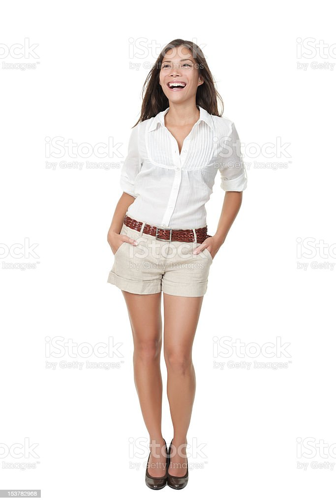 Summer casual woman standing on white background stock photo