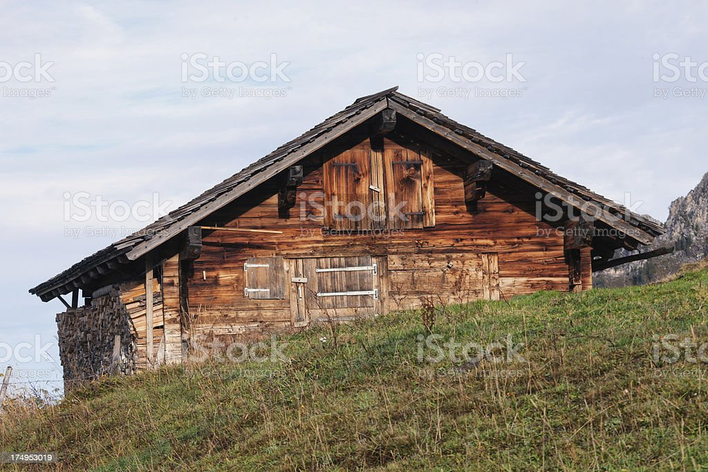 Summer cattle hut in the Bernese Alpines royalty-free stock photo