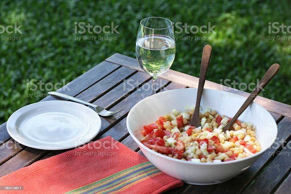 Summer chickpea salad royalty-free stock photo