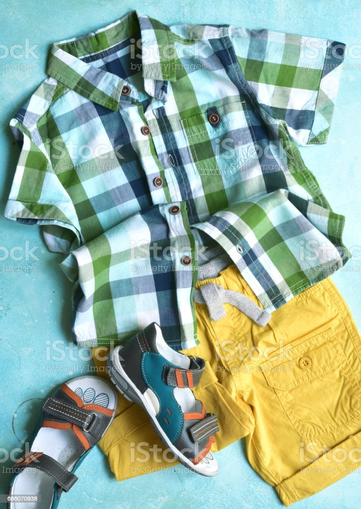 Summer clothing set for boy stock photo