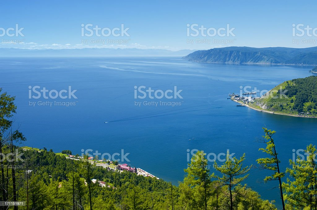 A summer coastline view across a bay stock photo