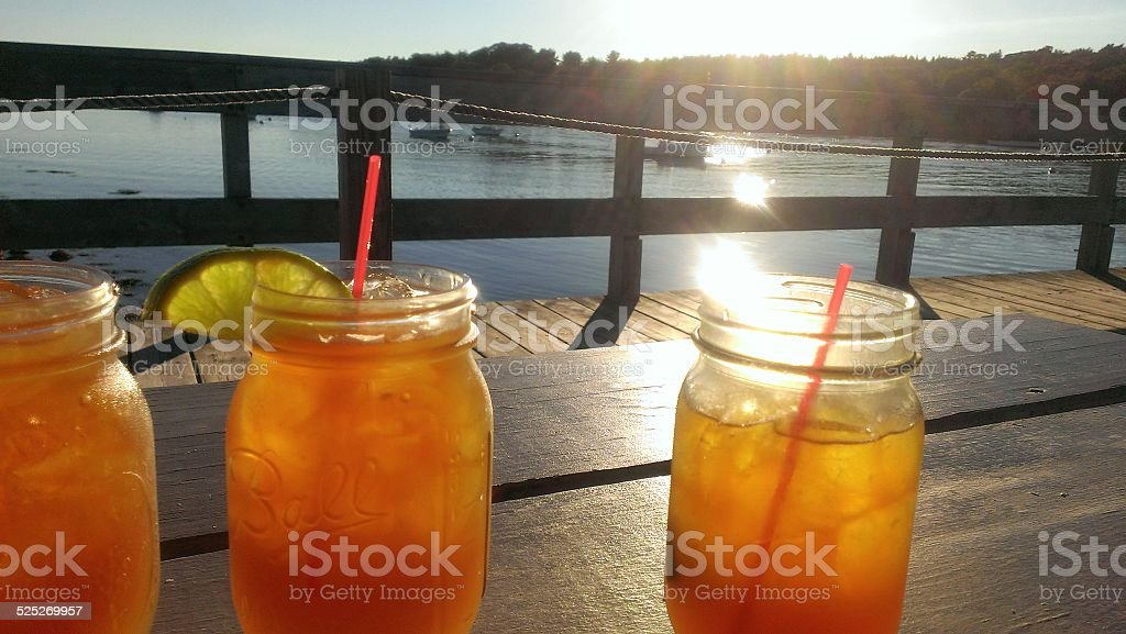 Summer Cocktails in mason jars stock photo