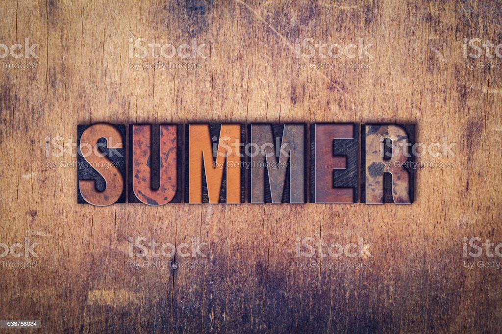 Summer Concept Wooden Letterpress Type stock photo
