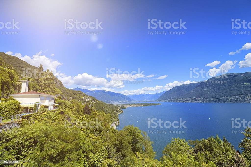 summer cottages at lake maggiore in Switzerland royalty-free stock photo