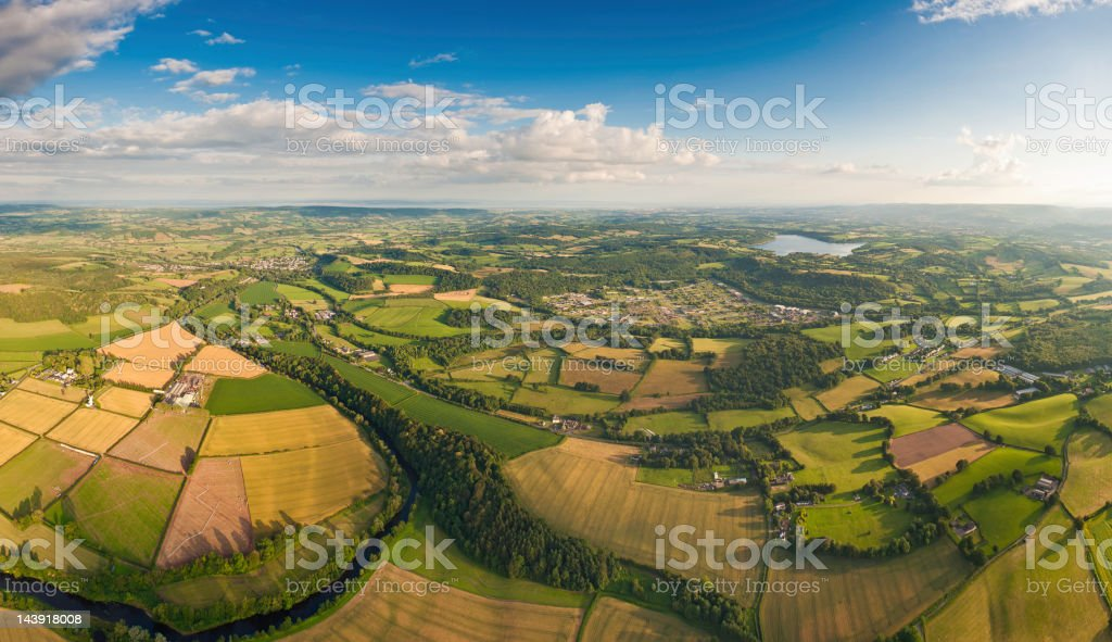 Summer country vibrant green landscape aerial panorama royalty-free stock photo