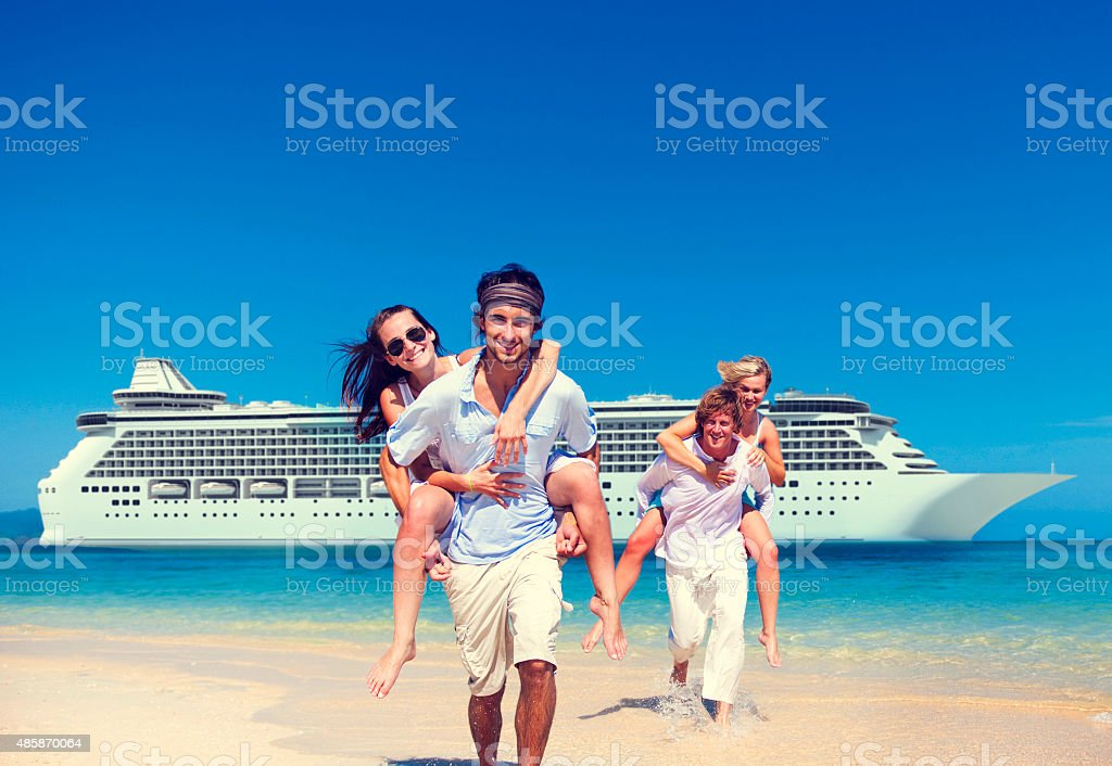 Summer Couple Island Beach Cruise Ship Concept stock photo