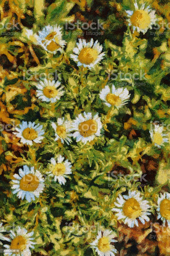 Summer daisies oil painting Van Gogh style imitation vector art illustration