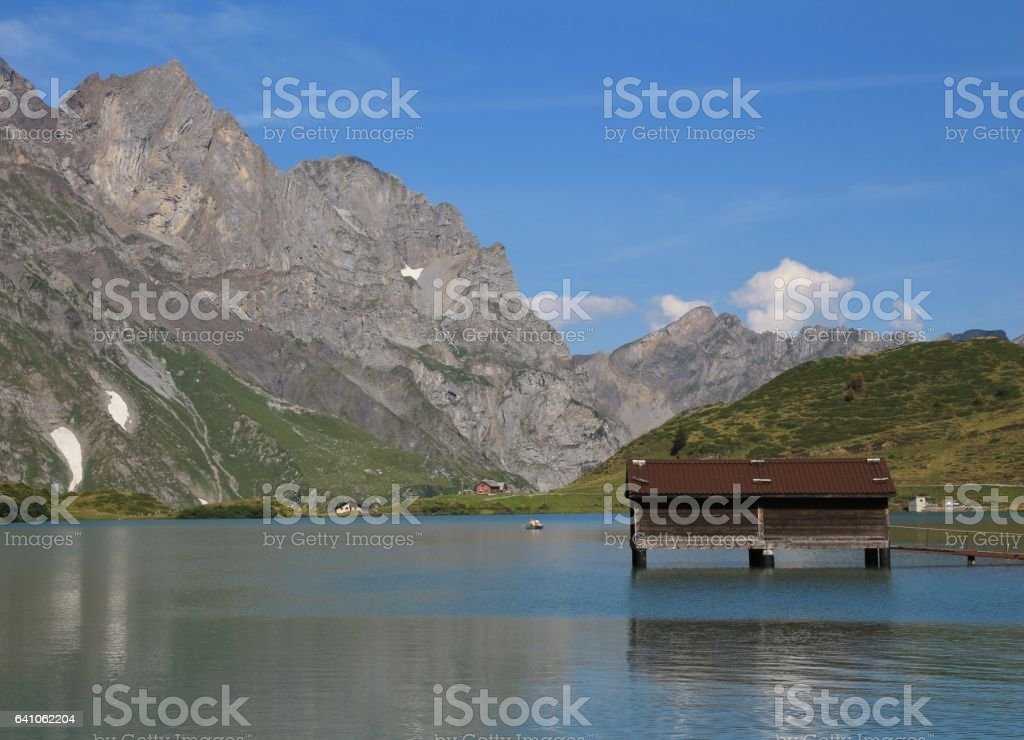 Summer day at lake Trubsee stock photo
