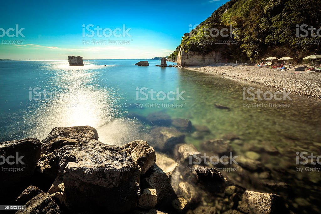 summer day at the beach in the gulf of Trieste stock photo
