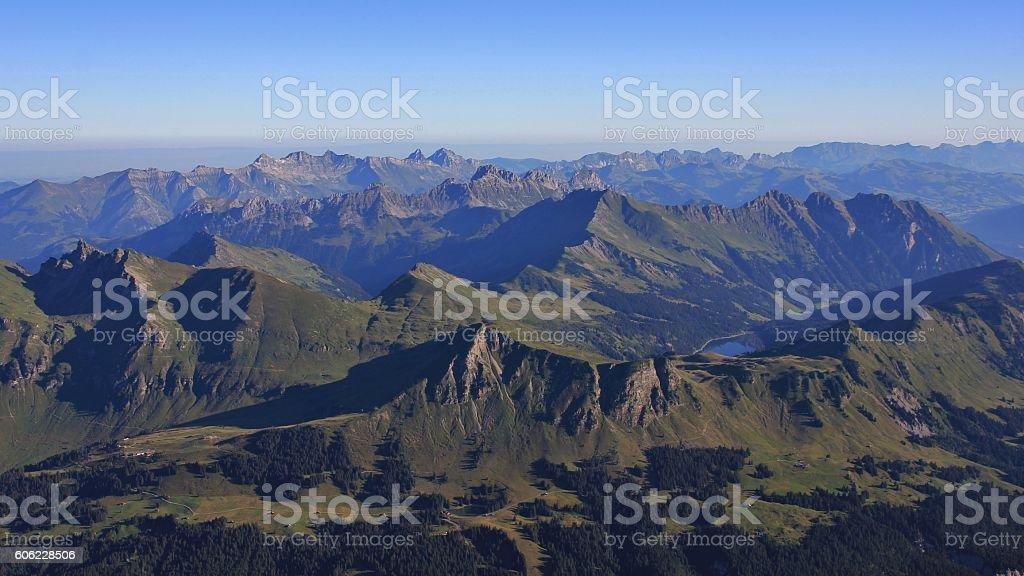 Summer day in the Swiss Alps stock photo