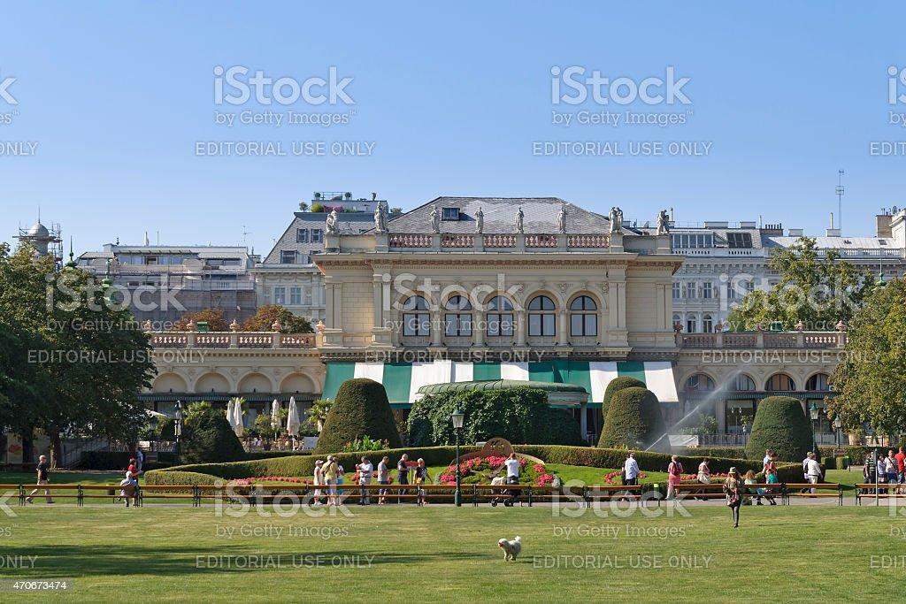 Summer day near Kursalon in Stadtpark (city park) Vienna, Austria stock photo