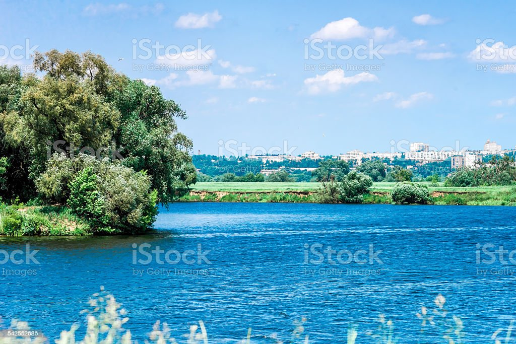 Summer day riverside stock photo