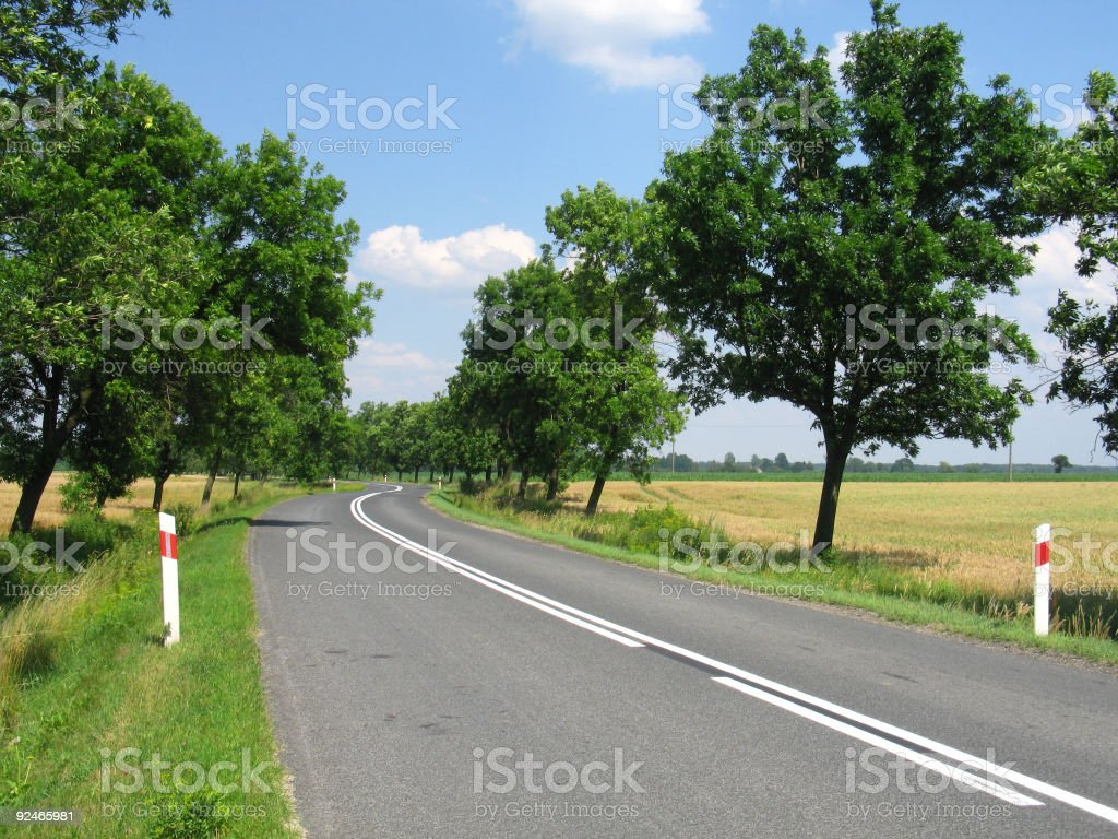 Summer day road turn royalty-free stock photo