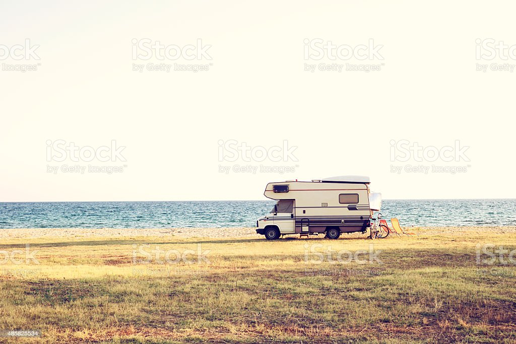 Summer day RV vacation. stock photo