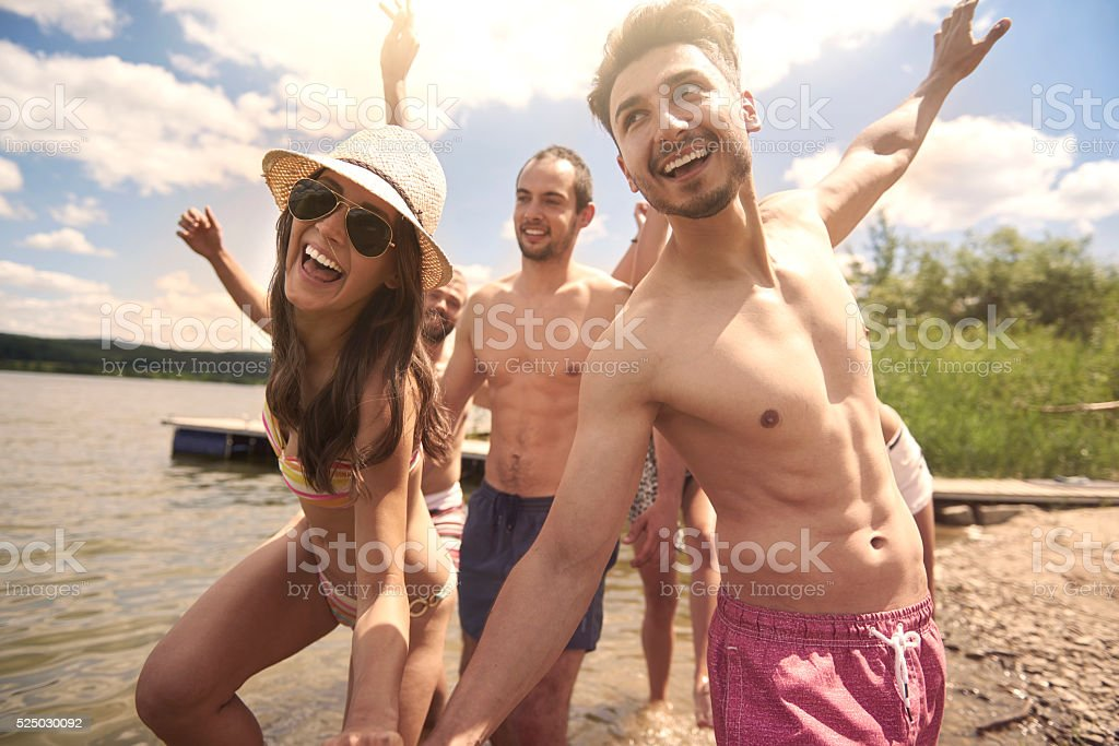 Summer day with my team stock photo
