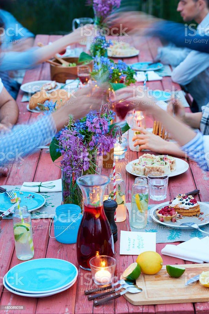 Summer decor of table stock photo