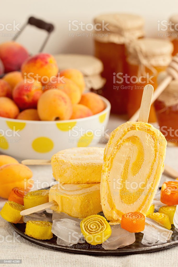 Summer dessert. Ice cream apricot. stock photo