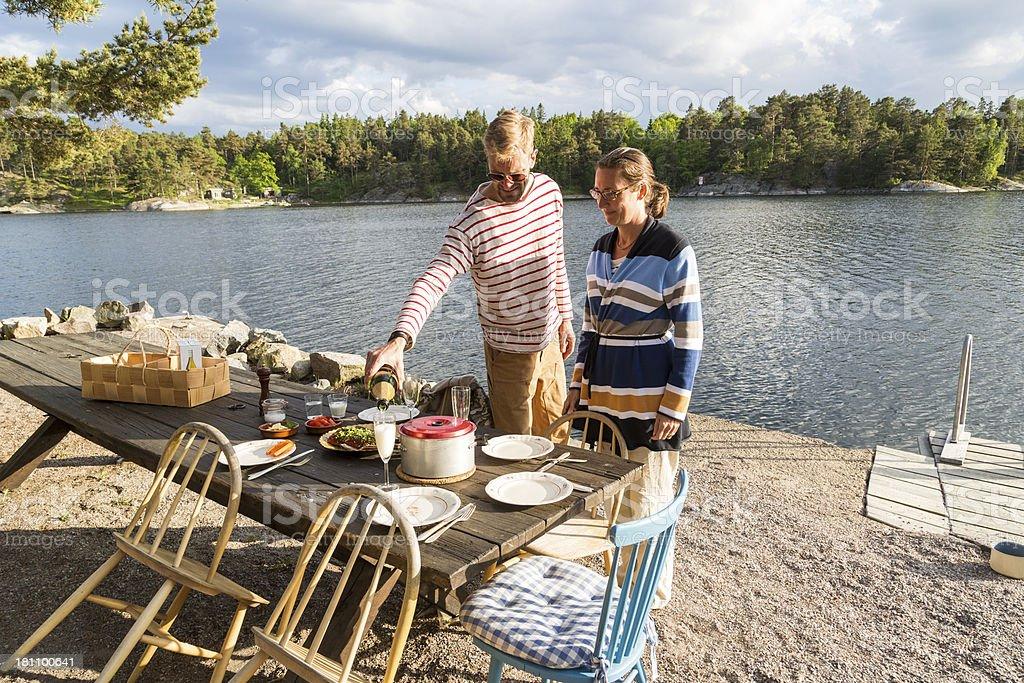 Summer dinner in Stockholm Archipelago. royalty-free stock photo
