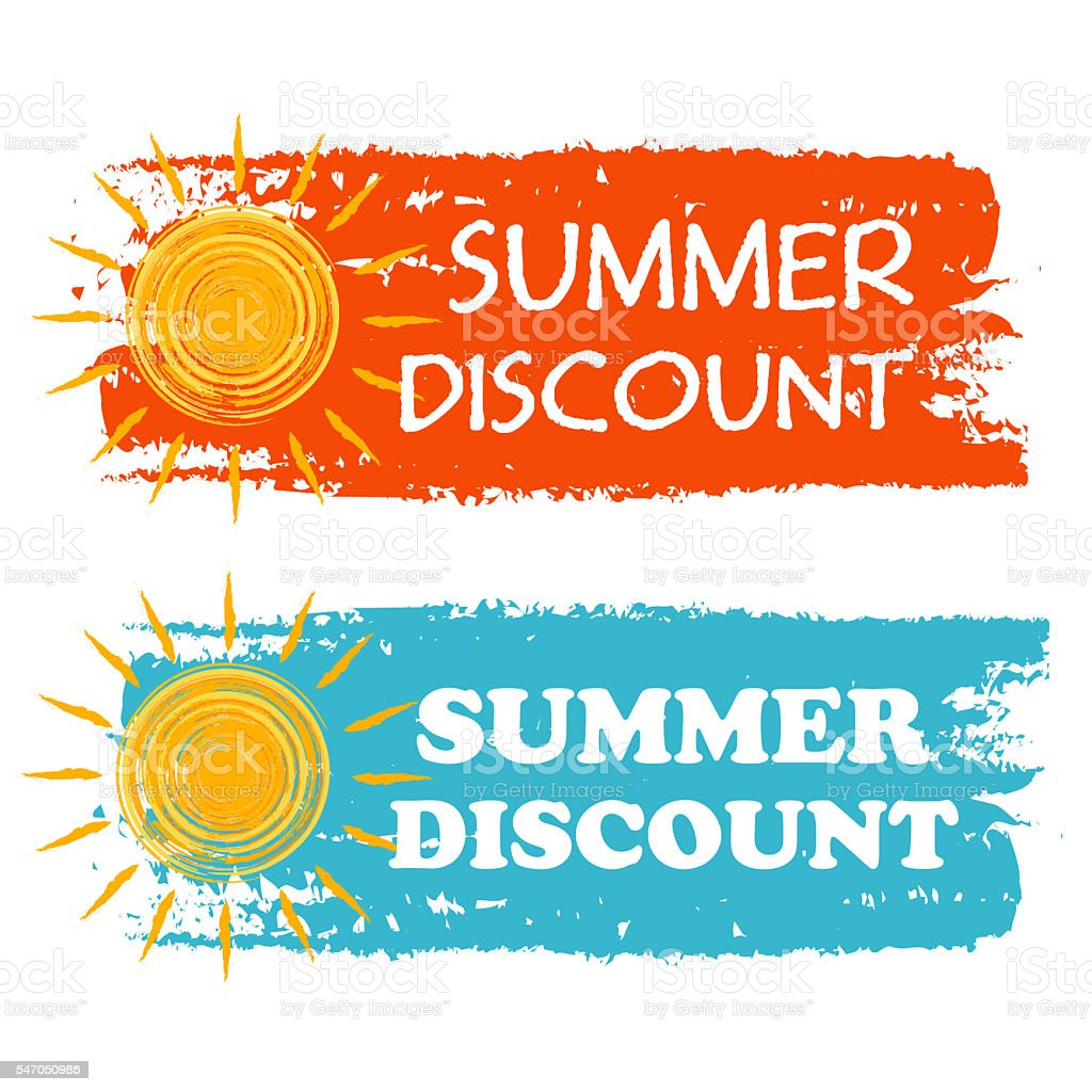 summer discount with yellow sun sign, drawn labels stock photo