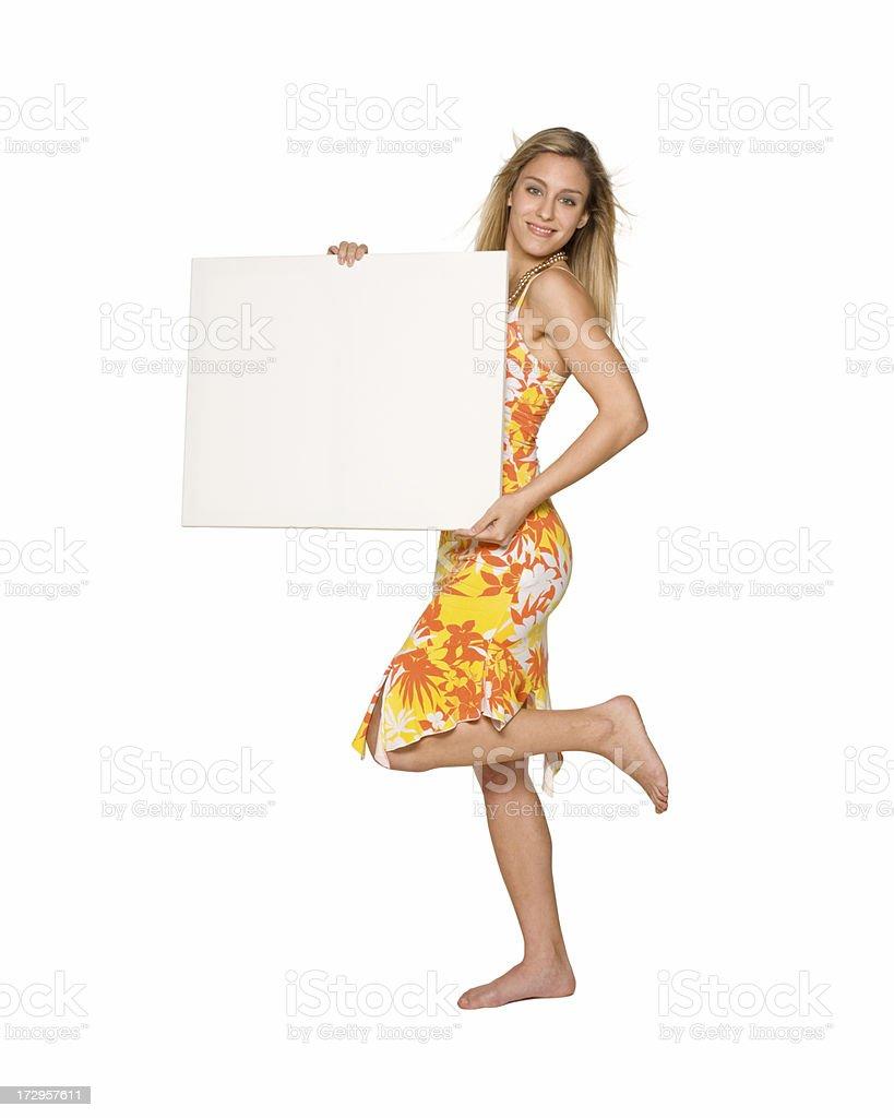 summer dress, billboard girl stock photo