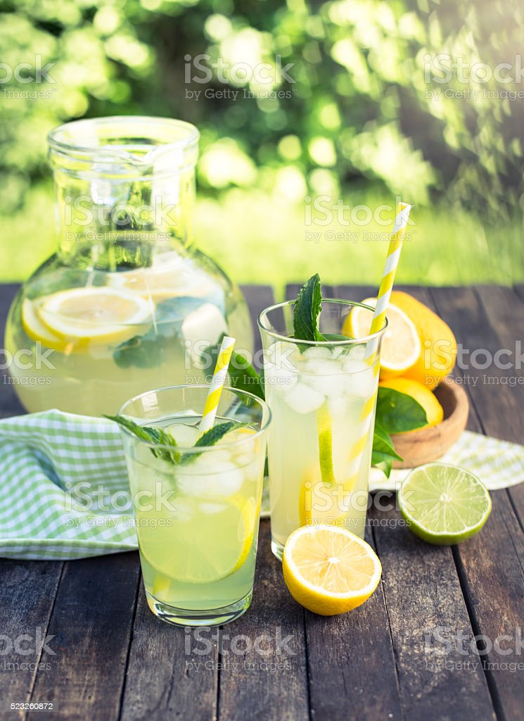 Summer drink - cold lemonade stock photo