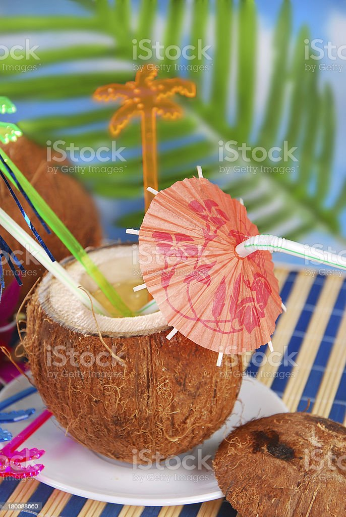 summer drink in coconut shell royalty-free stock photo