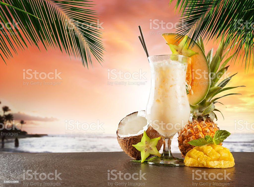 Summer drink on beach stock photo