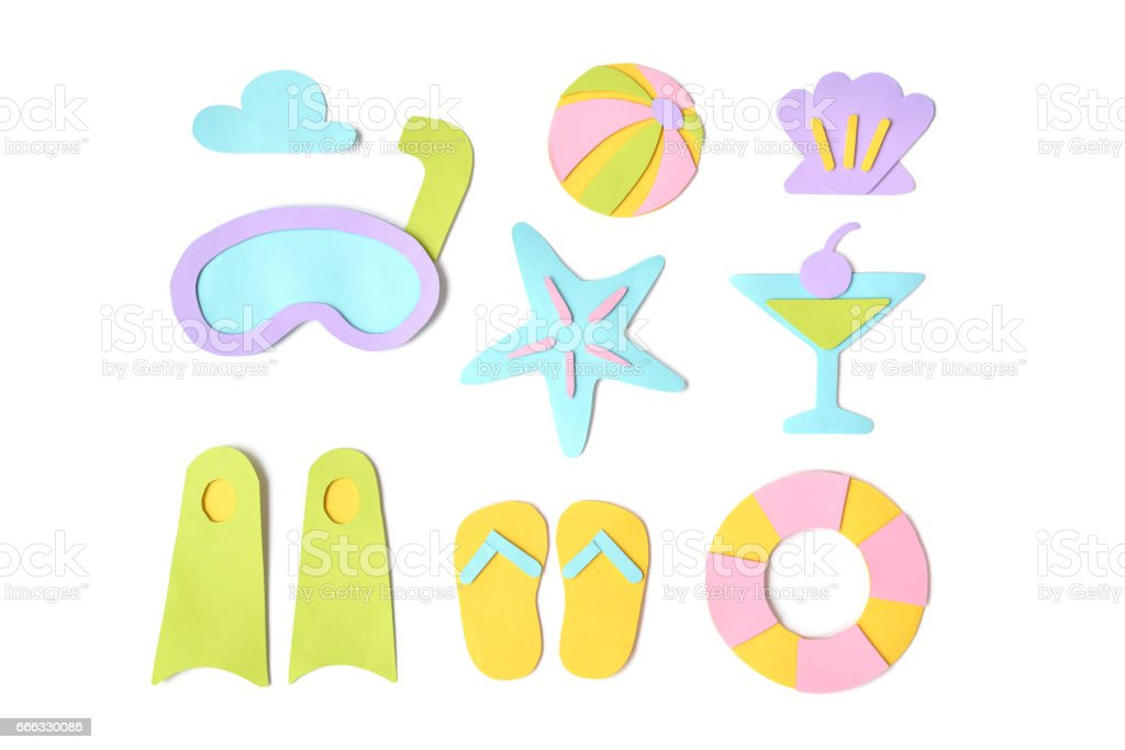 Summer element paper cut on white background - flat lay stock photo