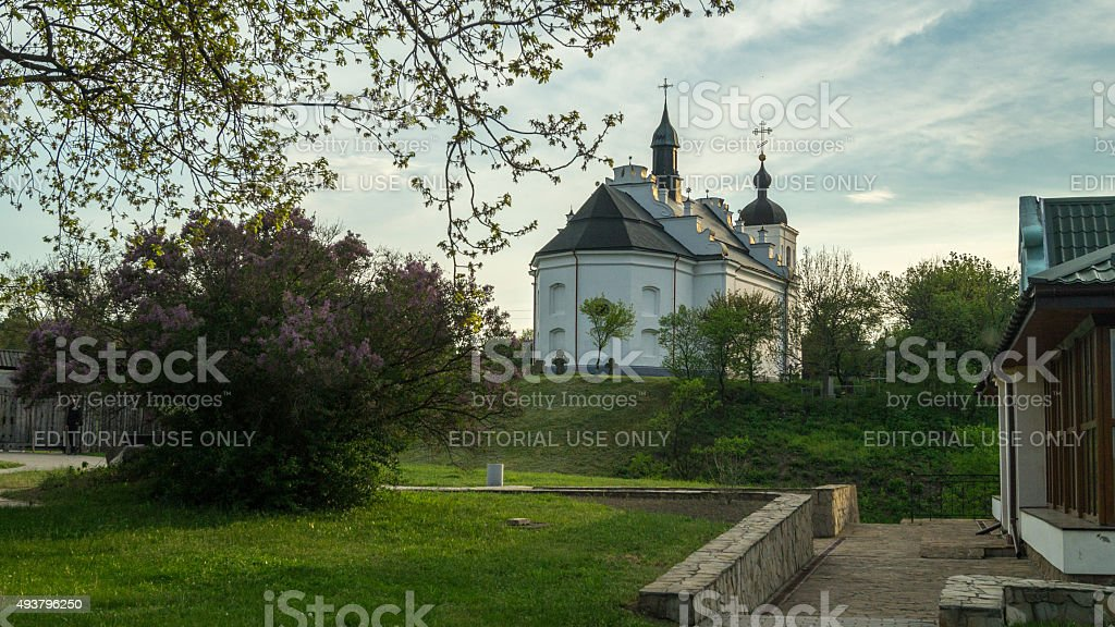 Summer evening at Bohdan Khmelnytsky's Church in Subotiv stock photo